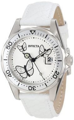 Invicta Women's 12515 Pro-Diver Silver Dial Crystal Accented Butterflies White Leather Watch