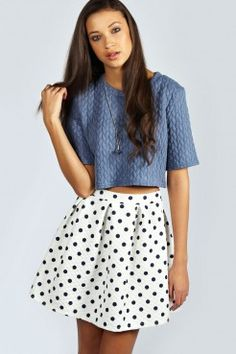 Adalyn Quilted Polka Dot Box Pleat Skater Skirt