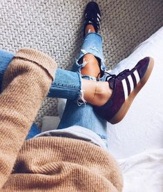 Oversized sweater, distressed denim, Adidas sneakers. Obsessed with blush & denim at the moment!