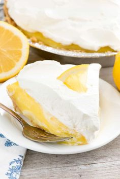 No Bake Lemon Cream Pie - this EASY lemon pie recipe has a homemade graham cracker crust and is filled with lemon and vanilla pudding!