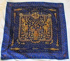 Authentic Hermes Silk Scarf, Blue - Tresors Retrouves