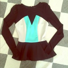 Peplum Mesh sleeves and back peplum. Zipper goes to bra line. Teal and light greige. Never worn. Tags on. No trades Arden B Tops Blouses