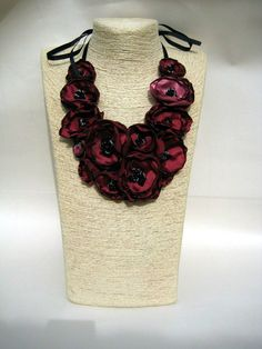37313f33e07e Red Rosette Necklace Fabric Necklace Rosette Jewelry Bib Necklace Wearable  Art Statement Jewelry Fabric Flower Necklace Unique Necklace
