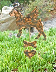 Boxer Metal Garden Art Pet Memorial Stake, Dog Memorial Marker, Grave Marker, Copper Garden Art, Outdoor Metal Sculpture, Garden Marker