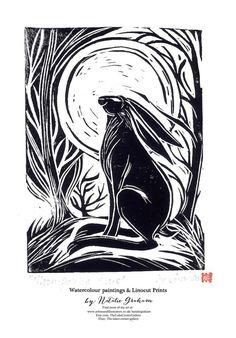 Original Linocut Print 'Moon-gazing hare' hand-printed lino block print, hares and wildlife by Natalie Graham