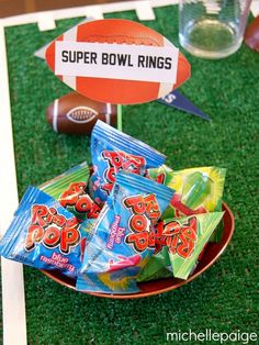 cute favor idea for football or super bowl party..... Birthday party ideas for Logan.