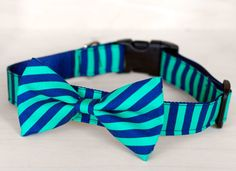 Green and Blue Stripe Dog Bow Tie Collar. $40.00, via Etsy.