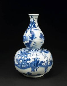 persian blue & white vase | Kangxi blue and white porcelain vase, double gourd vase & porcelain ...