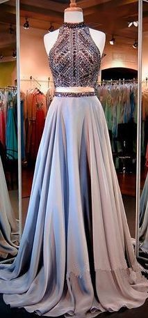 Sexy Prom Gown,A Line Prom Dresses,Chiffon Evening Gowns,2 Pieces Party Dresses,Long Evening Gowns,Sparkle Formal Dress For Teens, Prom Dress
