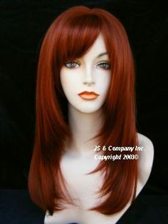 Long Straight Razor cut Face Framing WIG Fox red w Full Blunt Cut Bangs wasr 130