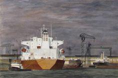 Jan Frederik Johan Nagtegaal (1920-2000) aquarel 'Bij Vlaardingen Wilton Feyenoord' afm. 33 x 50 cm.