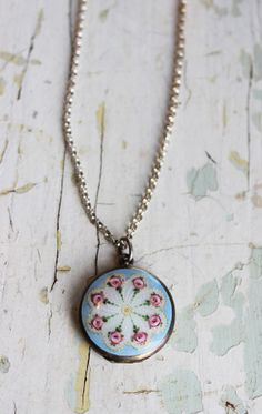 Antique enamel locket by SandraGoodkind on Etsy