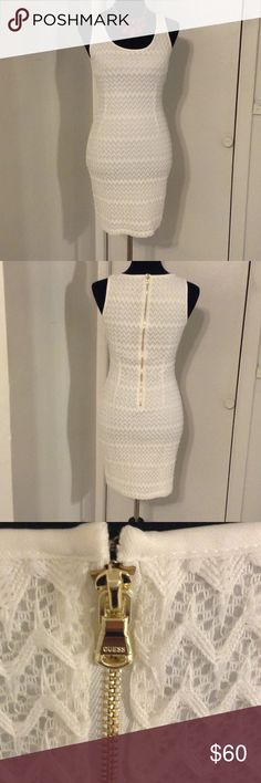 """✨✨✨WHITE GUESS DRESS✨✨✨ New; white lining under dress; approximately 16.5"""" faux gold back zipper with a top back clip closure Guess Dresses"""