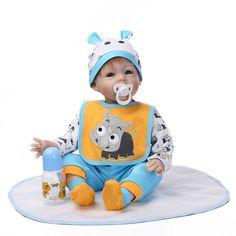 88.17$  Watch now - http://alip0o.worldwells.pw/go.php?t=32618058913 - 55cm Silicone reborn baby dolls accompany doll toys collection lifelike birthday present gift  handmade newborn boy babies 88.17$