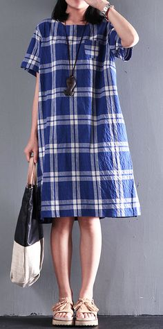 New Casual plaid cotton sundress summer shift dresses opens at back 6bbdae8744