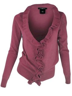 Ann Taylor Cardigan Sweater Ruffle Vneck Hook Front Closure Long Sleeve Pink S M #AnnTaylor #Cardigan