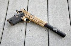 Socom MEU SOC 1911 Full Metal Airsoft Gas Pistol (Tan) w/ Gemtech Suppressor & Hard Case