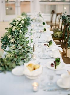 White tablescape with eucalyptus decor   Wedding & Party Ideas   100 Layer…