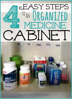 4 easy steps to an organized medicine cabinet. There's no need to spend time digging through expired and disorganized medicine to find the one bottle you need! Tips # 1 and 4 are brilliant! Medicine Cabinet Organization, Organization Station, Bathroom Organization, Storage Organization, Organizing Your Home, Organizing Ideas, Getting Organized, Cleaning Hacks, Helpful Hints