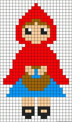 Little Red Riding Hood cross stitch pattern Perler Beads, Perler Bead Art, Beaded Cross Stitch, Cross Stitch Embroidery, Cross Stitch Patterns, Motifs Perler, Perler Patterns, Safety Pin Crafts, Modele Pixel Art