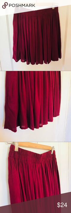 {Bethany Mota} Scarlet Skirt - L Beautiful color. Elasticized waistband. Goes great with sheer leggings and heels. Offers and questions welcome. Worn twice. Bethany Mota Skirts Mini