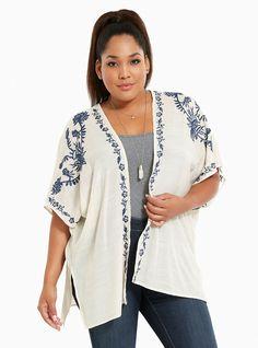 Plus Size Embroidered Kimono, STONE