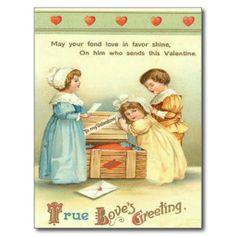 Vintage Kinderen die door de Valentijnskaart van d Wenskaarten