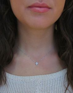 Tiny Gold and Diamond Cross Necklace 14k white by SkinnyBling