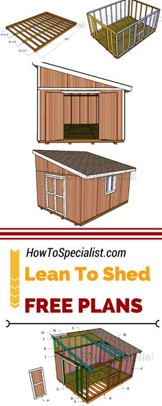 Shed Plans - Check out how to build a lean to shed for your… - Now You Can Build ANY Shed In A Weekend Even If You've Zero Woodworking Experience! Shed Plans 12x16, Lean To Shed Plans, Wood Shed Plans, Shed Building Plans, Building A Deck, Free Shed Plans, Building A Storage Shed, Deck Plans, Building Ideas