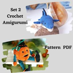 Set of 2 crochet PATTERNS Shark and Pumpkin. Crochet Amigurumi pattern. PDF- tutorial. Easy crochet pattern. This listing is an original pattern (written in English using American terminology) to crochet Shark and Pumpkin!All patterns includes detailed instructions of how to crochet toys and a lot of step-by-step photos. # sharkpattern# crochetpumpkinpdf# plushpumpkin# oceantoy# easycrochetpattern#crochetshark