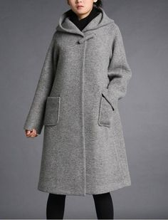 Grey wool hoodie coatmore colour and size choiceO10 by thesimpson 75 plus ship, other colors