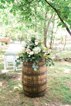 whiskey barrel floral centerpiece