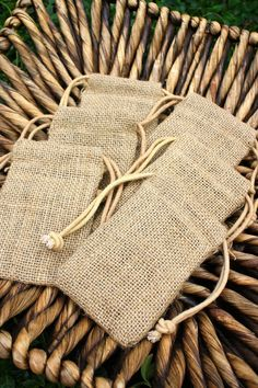 "6 - 3""x5"" Organic Burlap Bags Shabby Chic Rustic Wedding Favors Baby Shower Beach Wedding Home Decor Gift Bags. $8.40, via Etsy."