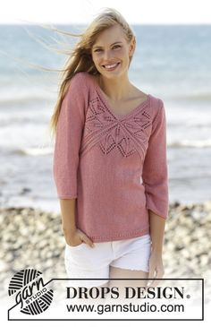 Drops 170-3, Knitted jumper with lace pattern and V-neck in Belle