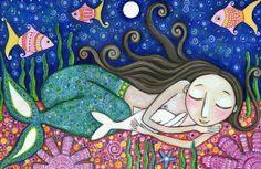 mermaid images for printing | Mermaid Art Print dolphin 8 x 11 art for kids ... | Mermaids and Sea ...