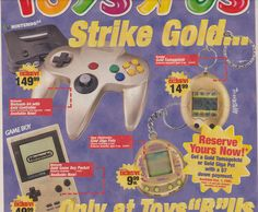 Vintage Videos, Vintage Video Games, Classic Video Games, Vintage Ads, Super Nintendo, Nintendo 64, Toys R Us Ad, Consoles, Giga Pet