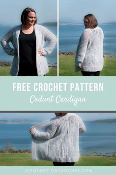 Free crochet fall cardigan pattern for women. Free cardigan crochet pattern crocheted in 3 pieces. Easy and quick skill level crochet pattern. Jacket crochet pattern for her. Crochet apparel for women in size XS to 5XL. Plus size crochet. Perfect for your wardrobe all year through. #crocheted #crochetpattern #crochetcardigan #crocheting #freecrochet Crochet Fall, Love Crochet, Crochet Tops, Crochet Sweaters, Crochet Hook Sizes, Crochet Stitches, Foundation Single Crochet, Crochet Cardigan Pattern, Lion Brand Yarn