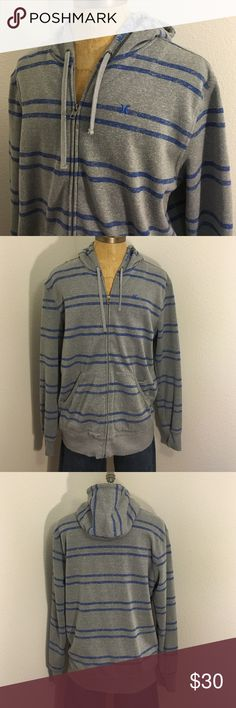 """Men's size XL Hurley Hooded sweatshirt Grey & Blue Mens x-large Hurley hoodie sweater. Grey and blue. In great pre-owned condition. Pit to pit 27"""". Length 31"""". See my closet for similar items! Bundling discounts available! Hurley Sweaters"""