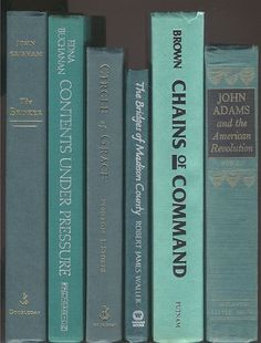 Books By The Half Foot, Lot of 5-6 hardcover books in shades of aqua, aqua green, aqua blue, turquoise instant Library Staging wedding decor by CalhounBookStore on Etsy