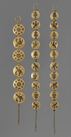 Chain with Birds and Geometric Motifs. 1000–1200. Made in, Kiev (probably). Culture: Kievan Rus'. Cloisonné enamel, gold. Chains, called riazni, were created from small cloisonné enamel medallions. The chains may have joined layers of dress, been worn as necklaces or bracelets, or used to suspend circular or crescent-shaped pendants known as temple pendants or kolti.: