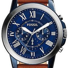 The Fossil Chronograph Grant Light Watch straddles the line between casual and classy with a blue dial and silver-tone Roman numerals. Rugged Watches, Fossil Watches For Men, Cool Watches, Men's Watches, Luxury Watches, Fashion Watches, Jewelry Watches, Wear Watch, Brown Leather Strap Watch