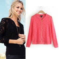 Women All Match Lace Hollow Out Jacket