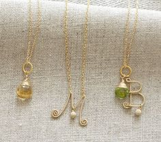 gold scroll birthstone necklaces for mom