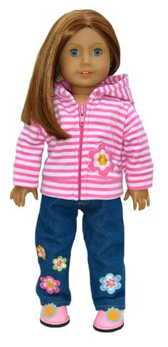 Trendy American Girl Doll Clothes by Silly Monkey - Striped Flower Hoodie and Flower Jeans, $20.99 (http://www.silly-monkey.com/products/striped-flower-hoodie-and-flower-jeans.html)