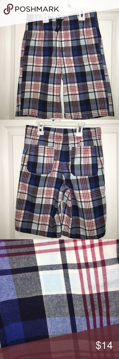 Gymboree madras cotton shorts-size 10 Preppy, classic madras shorts in 100 percent cotton.  Pockets in back and on the side.  Navy, Royal blue, white, red, and baby blue so it can be worn beautifully with many tops.  Elastic waist.  These shorts are in perfect condition! Gymboree Bottoms Shorts