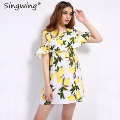 581b456e73bc Singwing Fashion Women Off shoulder Lemon Print Dress Above Knee Mini  O-neck Dress Summer