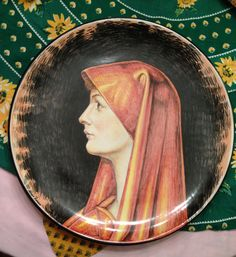Saint Fabiola handmade pottery ceramic dish and artistic painting replica, custom made by Romeo Cuomo and his team of artists in Amalfi, Italy as my own birthday present July 2014.   Thank you to Mario Francese !   Thank you Romeo Cuomo !