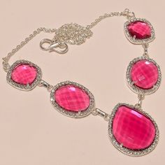 """AMAZING PINK TOURMALINE WITH WHITE CZ .925 SILVER NECKLACE 18""""  #Handmade #Pendant"""