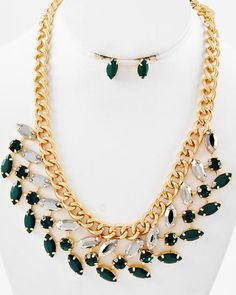 Gold Tone Metal / Emerald & Hematite Acrylic / Lead Compliant / Necklace & Post Earring Set