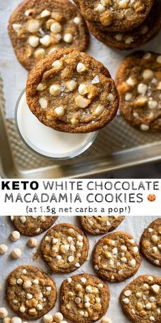 Gluten Free & Keto White Chocolate Macadamia Nut Cookies - New Pin Low Carb Sweets, Low Carb Desserts, Healthy Desserts, White Chocolate Macadamia Cookies, Macadamia Nut Cookies, Chocolate Cookies, Coconut Cookies, Keto Cookies, Cookies Et Biscuits